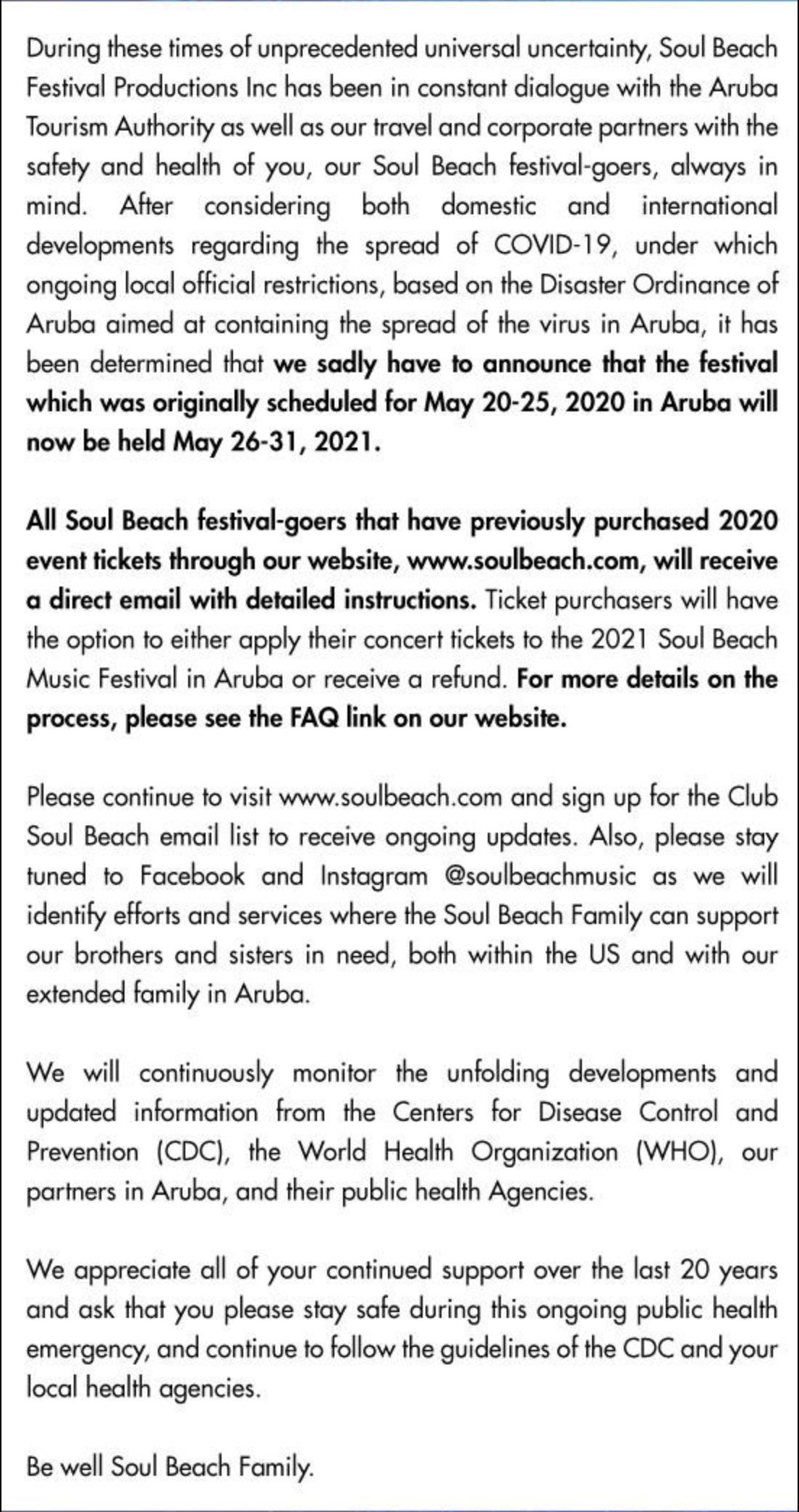 Soul Beach music Festival Announcement